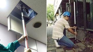 伸縮ポールで天井裏や上下水道等の検査